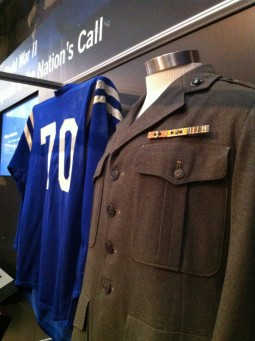 Art Donovan's Jersey & World War II Jacket on display at the Hall of Fame.